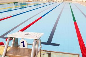 Outdoor Swimming Pool and clearly marked lanes photo