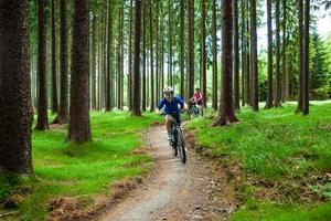 Two women riding bikes on forest trails