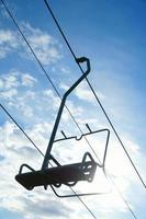Chairlift in sunshine with blue sky