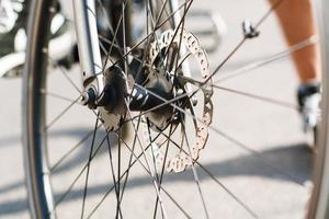 Part of Bike brake disc in close up.