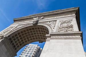 Unusual view of the Washington Square Park arch, New York