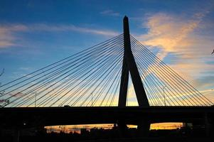 Zakim Bunker Hill Memorial Bridge at sunset photo