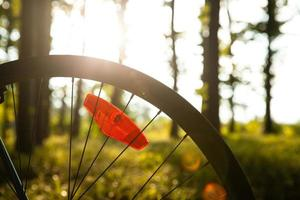 wheel of bicycle in the evening photo