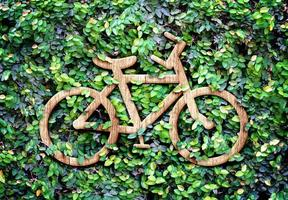 Eco concept :Wood texture Bicycle icon on green leaves wall