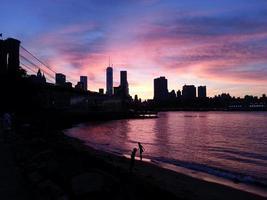 Summer New York City Skyline from Brooklyn Purple Sky