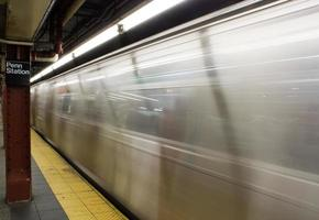 Moving subway train in NYC photo