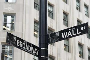 Wall Street y Broadway Street firmar en la ciudad de Nueva York foto