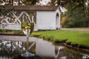 Willamette Valley Wine Chardonnay Inverted Covered Bridge Thomas Creek Oregon photo