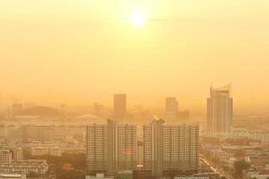Bangkok puesta de sol, ciudad de Bangkok, Bangkok Tailandia, puesta de sol
