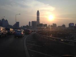 Traffic jam in urban bangkok
