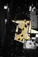 high angle view of taxi cabs in nyc photo