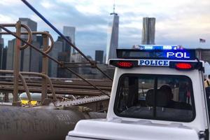 Police car on the bridge photo
