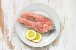 frozen salmon and lemon photo