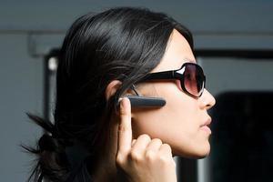 Woman wearing headset photo