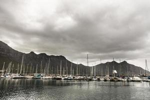 boats on a cloudy harbor photo
