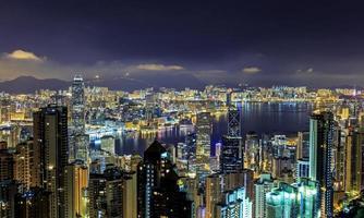 View from the Peak, Hong Kong, at Night photo