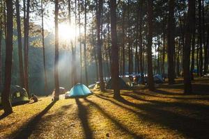acampando en la montaña foto