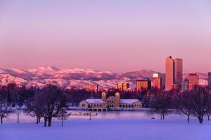Denver Colorado Skyline in Snow Feb 2013