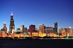 Skyline di Chicago al crepuscolo