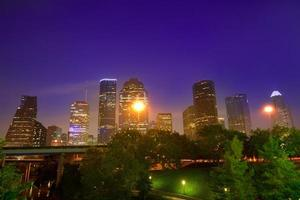 Houston skyline west view sunset Texas US