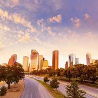 Houston skyline sunset from Allen Pkwy Texas US photo