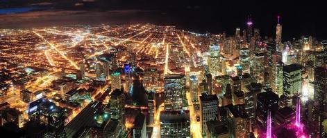 panorama de vista nocturna de chicago