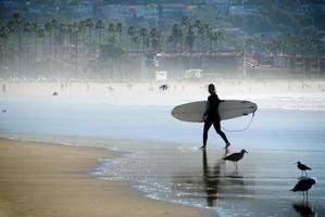 Female surfer on La Jolla beach near San Diego