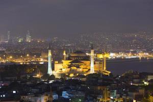 Magnificient view of Hagia Sophia and Istanbul bosphorus at night photo