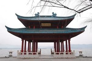 Chinese pavilion on the shore of West Lake, Hangzhou, China