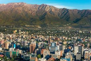 Aerial view of Santiago de Chile and surrounding mountains photo