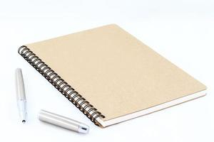 Notebook and Silver fountain pen photo
