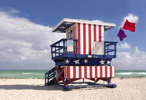 A lifeguard house painted with an American flag design