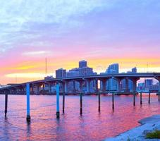 City of Miami Florida, colorful sunset panorama