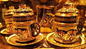 Traditional Turkish coffee cups photo