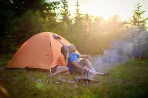 man woman tent tourism