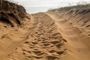 Tire tracks in sand dunes over hill photo