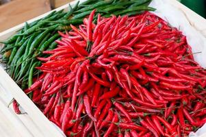 Chili Peppers in basket photo