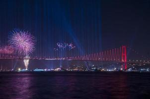 Celebration with fireworks. Istanbul - Turkey