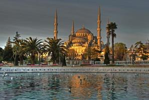 Sunrise and reflections at Blue Mosque