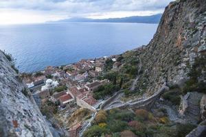 Vista superior de monemvasia, grecia. foto