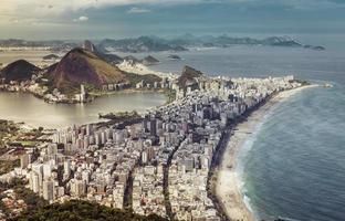 High angle city aerial view of Rio de Janeiro, Brazil