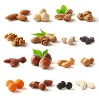 Nuts family with clipping path photo