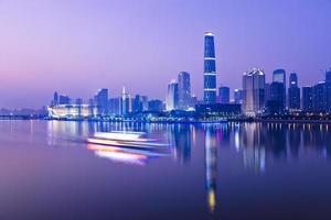 skyline of city at night