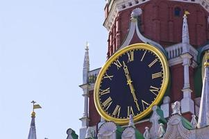 Old clock on tower (Russia, kremlin chimes) photo