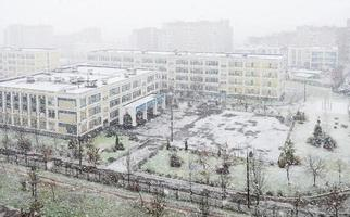 first snow storm in Moscow, Russia photo