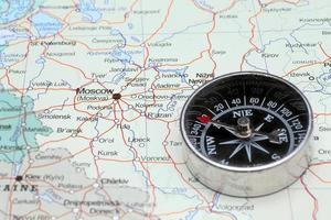 Travel destination Moscow Russia, map with compass photo