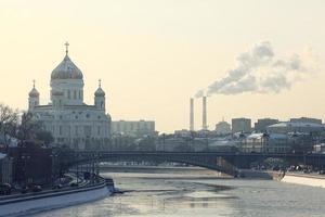 Moscú kremlin catedral invierno paisaje terraplén foto