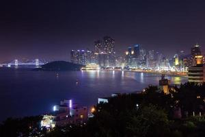 Night view over Busan city, South Korea.