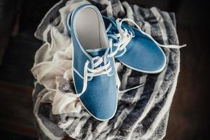 Men's blue loafers, masculine style photo