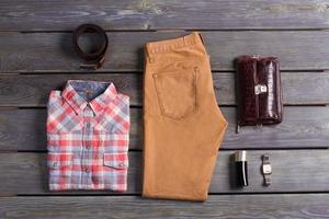 Casual collection of men's clothing. photo